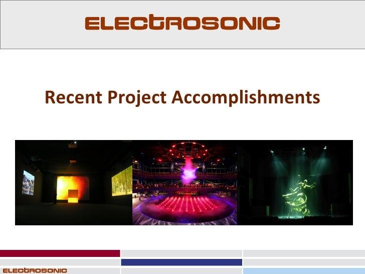 Recent Project Accomplishments