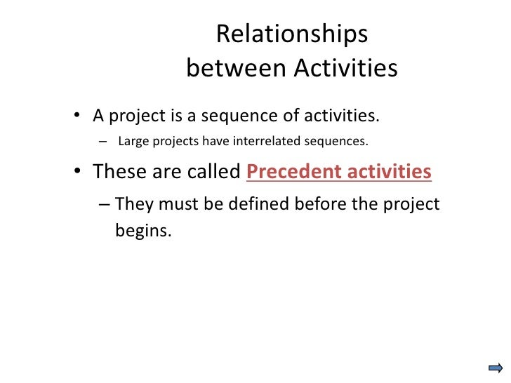 Relationships                 between Activities• A project is a sequence of activities.   – Large projects have interrela...