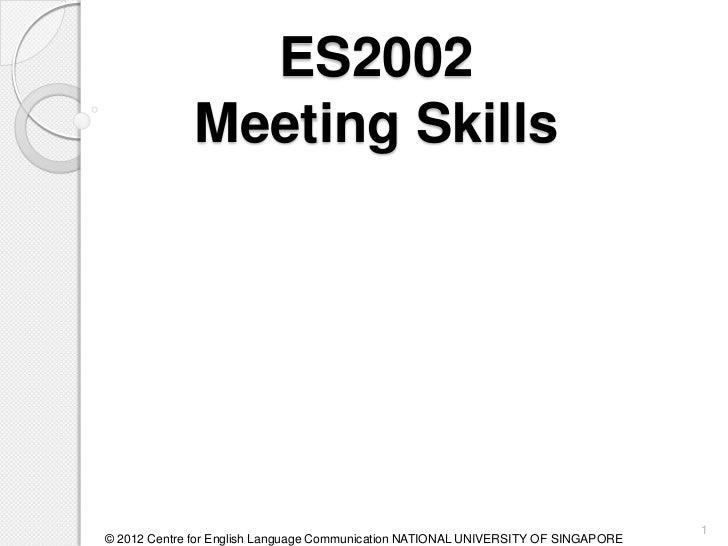 ES2002             Meeting Skills                                                                                    1© 20...