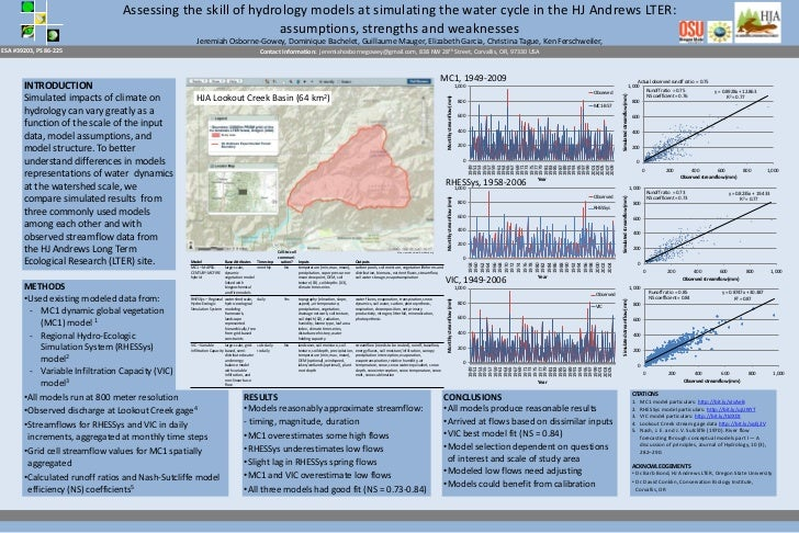 Assessing the skill of hydrology models at simulating the water cycle in the HJ Andrews LTER:                             ...