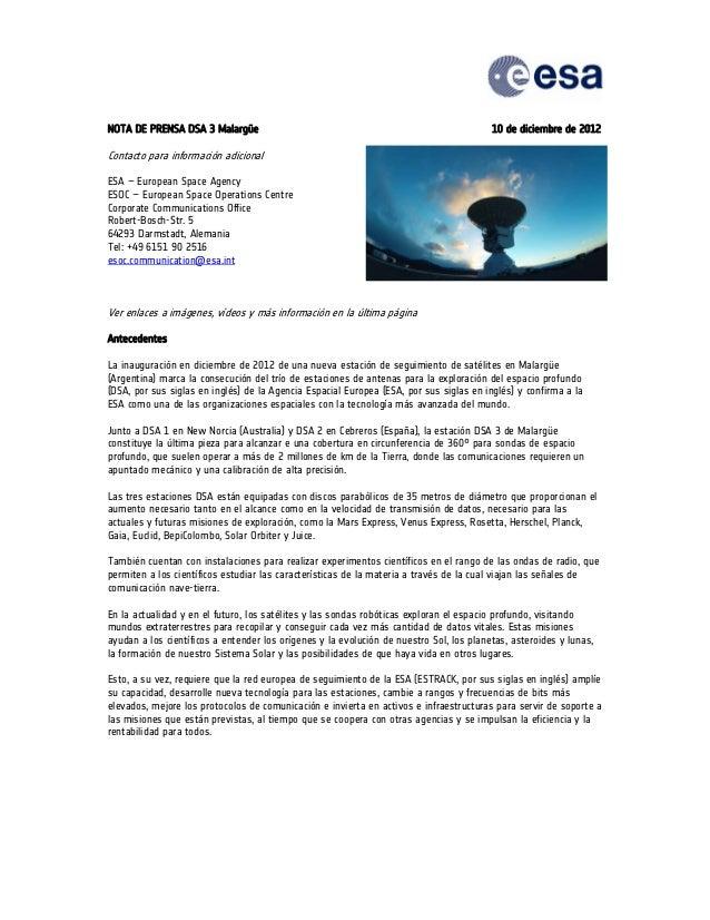 NOTA DE PRENSA DSA 3 Malargüe                                                            10 de diciembre de 2012Contacto p...