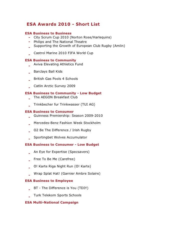 Esa2010 awards