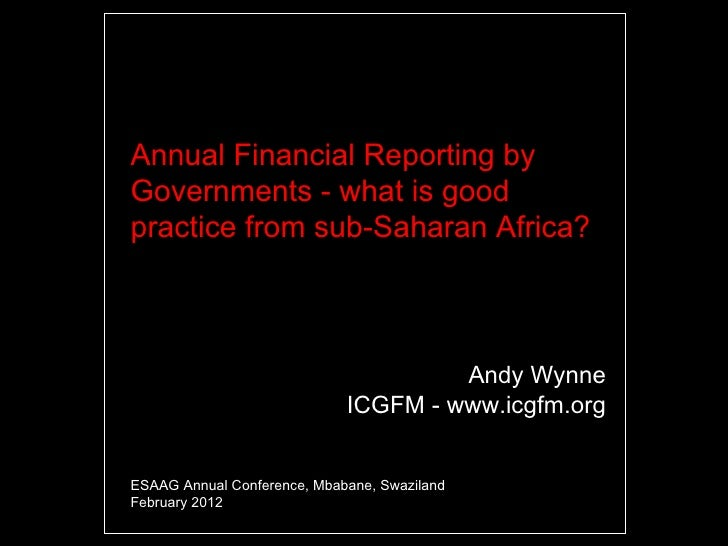 Good Practice with Financial Reporting by Governments of sub-Saharan Africa