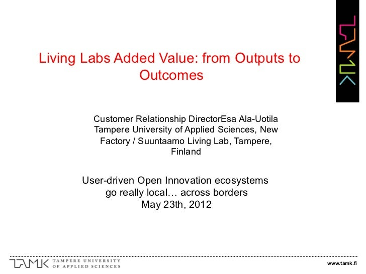 Apollon-23/05/2012-9u30- Parallell session: Living Labs added value