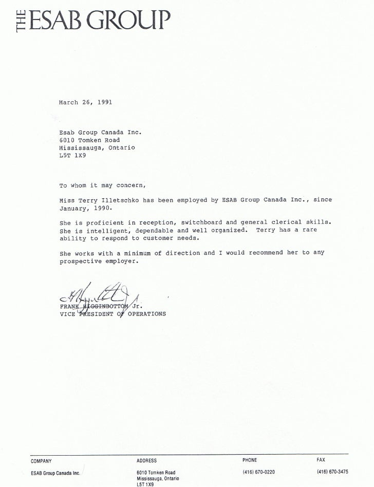 Esab Welding Products Reference Letter