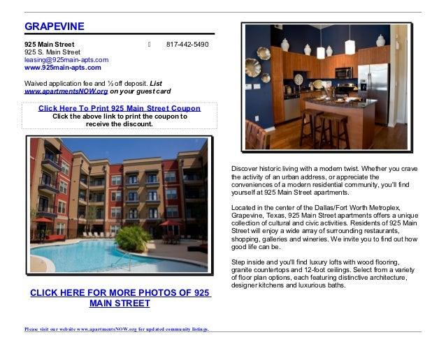 GRAPEVINE925 Main Street                                           817-442-5490925 S. Main Streetleasing@925main-apts.com...