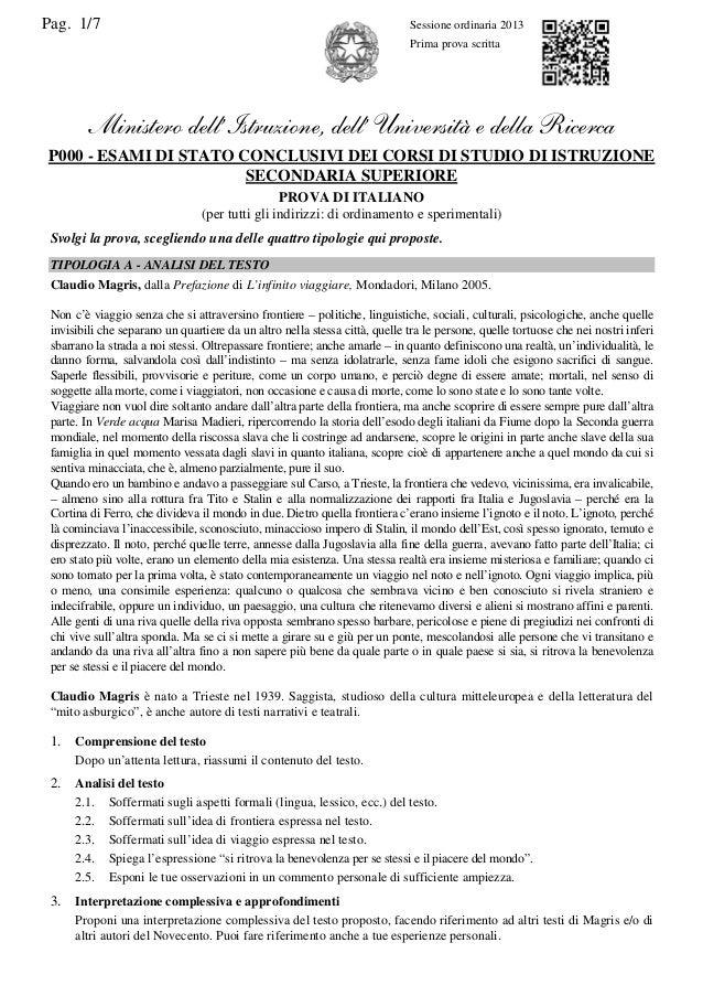 Pag. 1/7  Sessione ordinaria 2013 Prima prova scritta  Ministero dell'Istruzione, dell' Università e della Ricerca P000 - ...