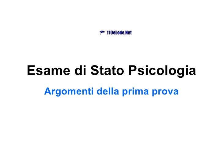 Esame di Stato Psicologia Argomenti della prima prova