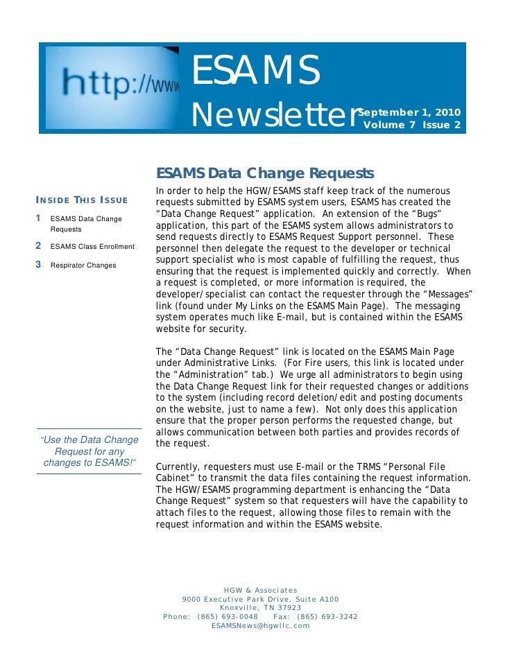 Esams newsletter sept 2010