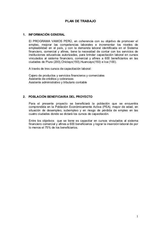 PLAN DE TRABAJO1. INFORMACIÓN GENERAL   El PROGRAMA VAMOS PERÚ, en coherencia con su objetivo de promover el   empleo, mej...