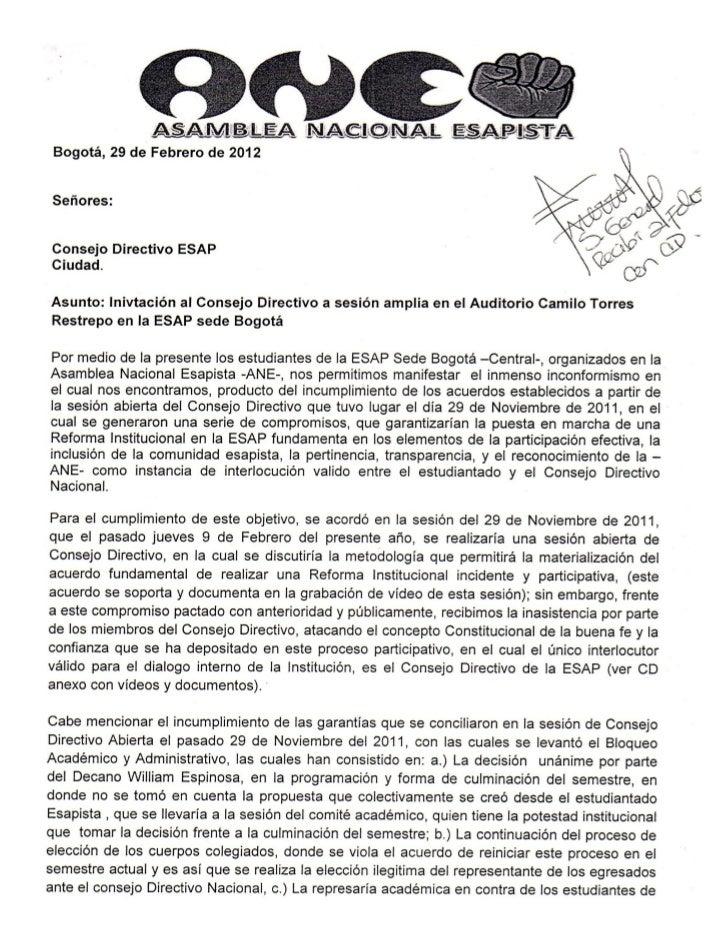 ESAP CARTA ANE Radicada al Concejo Directivo el 29 de Febrero. -Actuando por la ESAP, actuando por  COLOMBIA con la MANE-