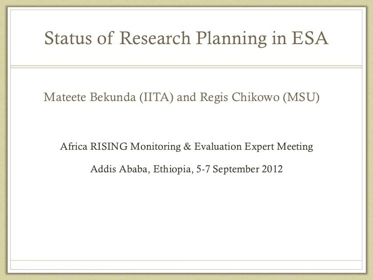 Africa RISING: Status of research planning in East and Southern Africa