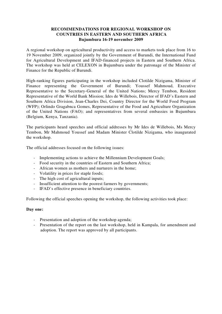 RECOMMENDATIONS FOR REGIONAL WORKSHOP ON               COUNTRIES IN EASTERN AND SOUTHERN AFRICA                      Bujum...