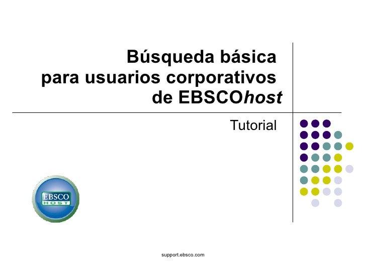 Busqueda Básica para Usuarios corporativos de Ebsco host