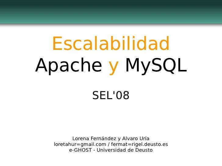 Escalabilidad Apache  y  MySQL SEL'08 Lorena Fernández y Alvaro Uría loretahur=gmail.com / fermat=rigel.deusto.es e-GHOST ...