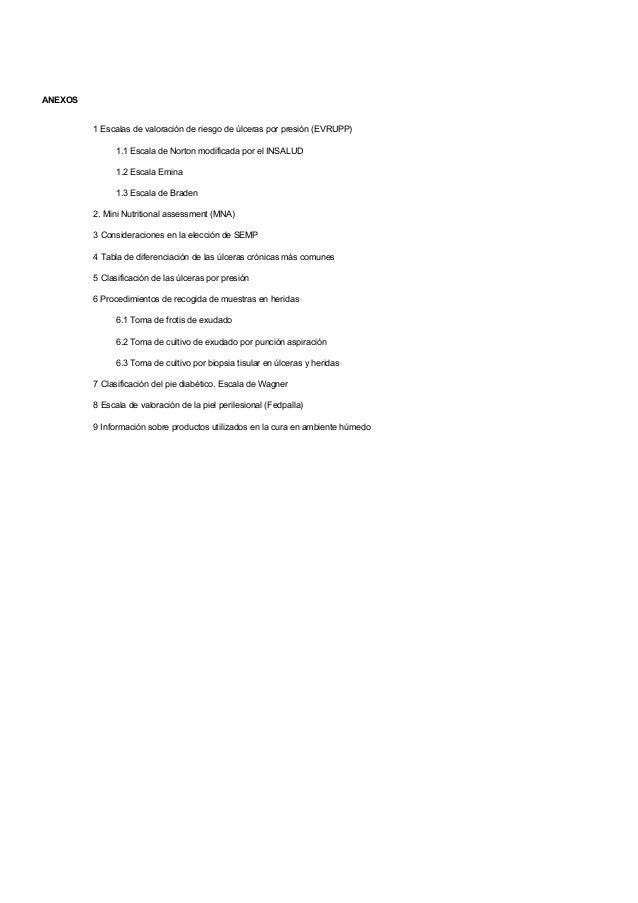 ANEXOS1 Escalas de valoración de riesgo de úlceras por presión (EVRUPP)1.1 Escala de Norton modificada por el INSALUD1.2 E...