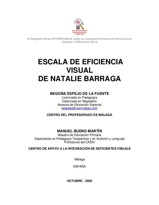 III Congreso Virtual INTEREDVISUAL sobre La Autonomía Personal de Personas con Ceguera o Deficiencia Visual  ESCALA DE EFI...