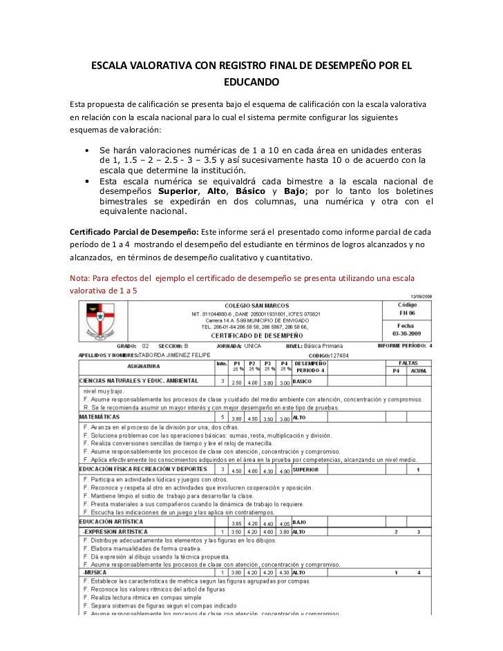 ESCALA VALORATIVA CON REGISTRO FINAL DE DESEMPEÑO POR EL                                EDUCANDO Esta propuesta de calific...