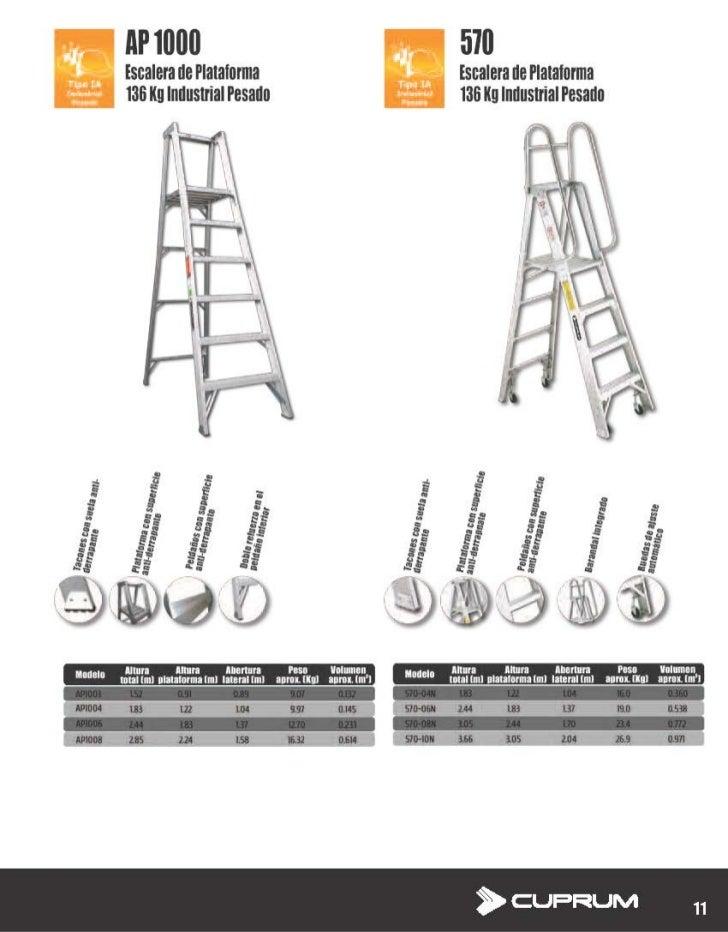 Escalera de plataforma de aluminio cuprum ap1000 y 570 for Escaleras cuprum