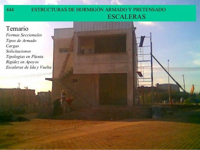 444 ESTRUCTURAS DE HORMIGÓN ARMADO Y PRETENSADO ESCALERAS Temario Formas Seccionales Tipos de Armado Cargas Solicitaciones...