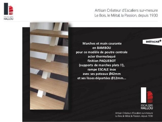 escalier poutre centrale marches et main courante en bambou rampe i. Black Bedroom Furniture Sets. Home Design Ideas