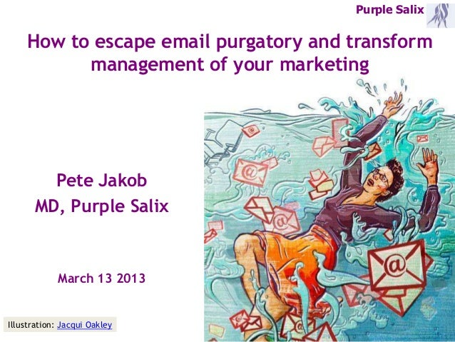 Purple Salix    How to escape email purgatory and transform          management of your marketing        Pete Jakob      M...