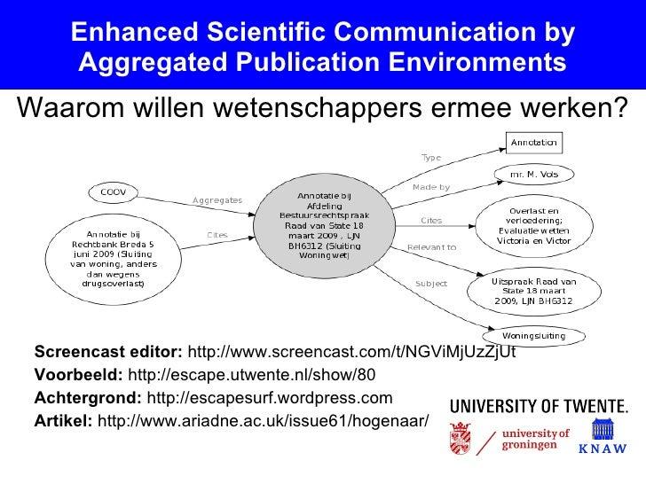 Enhanced Scientific Communication by Aggregated Publication Environments <ul><li>Screencast editor:  http://www.screencast...
