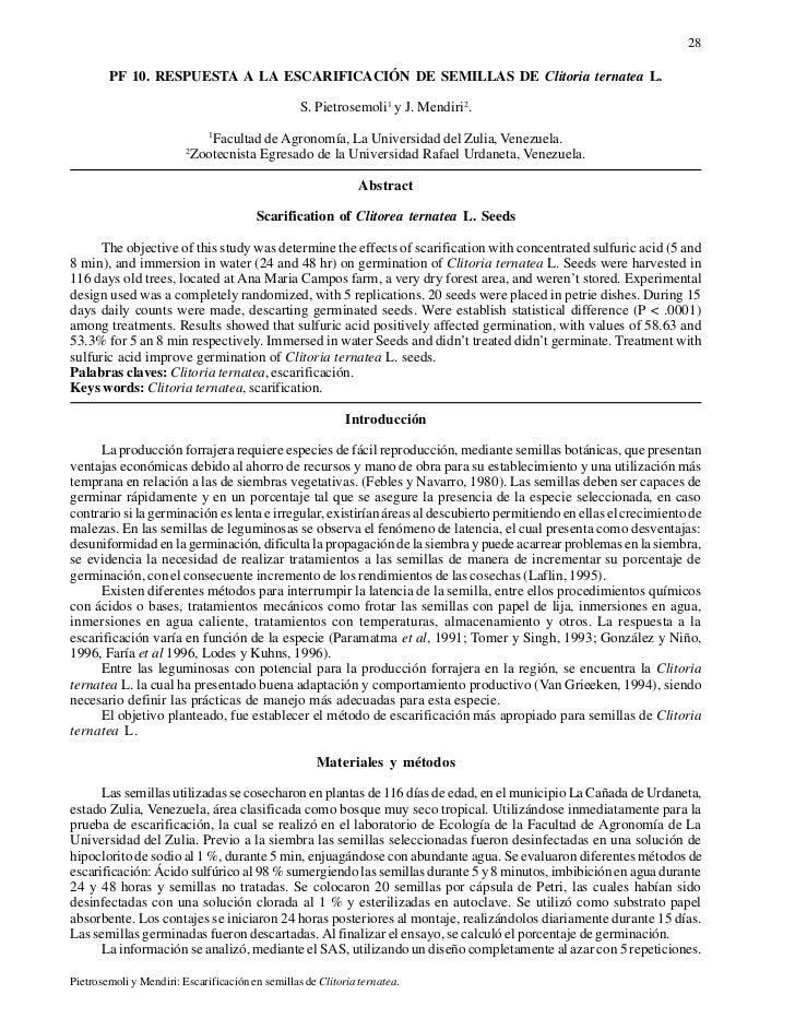28        PF 10. RESPUESTA A LA ESCARIFICACIÓN DE SEMILLAS DE Clitoria ternatea L.                                        ...