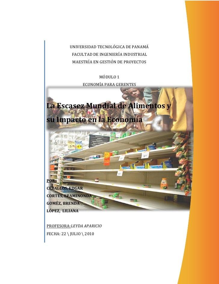 UNIVERSIDAD TECNOLÓGICA DE PANAMÁ            FACULTAD DE INGENIERÍA INDUSTRIAL            MAESTRÍA EN GESTIÓN DE PROYECTOS...