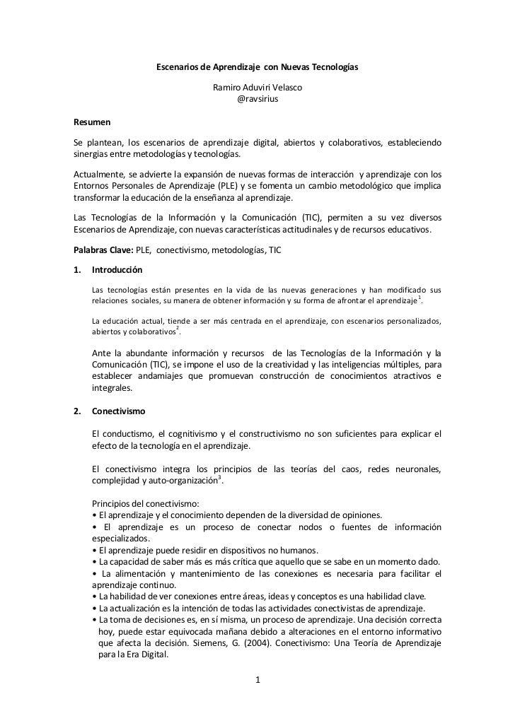 Escenarios de Aprendizaje con Nuevas Tecnologías                                      Ramiro Aduviri Velasco              ...