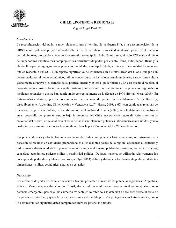 CHILE: ¿POTENCIA REGIONAL?                                            Miguel Ángel Pardo B.IntroducciónLa reconfiguración ...