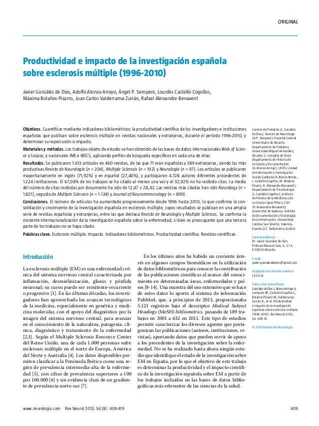 Esclerosis múltiple (1996 2010) producitividad e impacto