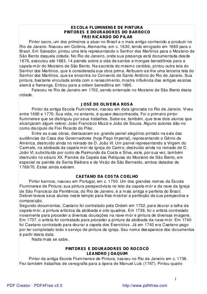 ESCOLA FLUMINENSE DE PINTURA                               PINTORES E DOURADORES DO BARROCO                               ...