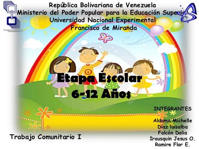 República Bolivariana de Venezuela  Ministerio del Poder Popular para la Educación Superior             Universidad Nacion...