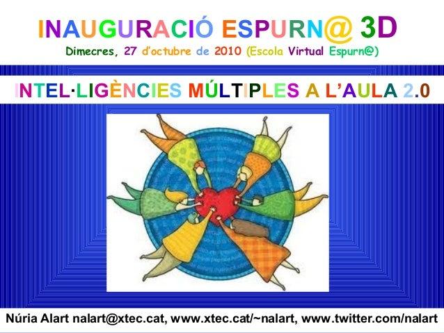 INAUGURACIÓ ESPURN@ 3D Dimecres, 27 d'octubre de 2010 (Escola Virtual Espurn@) Núria Alart nalart@xtec.cat, www.xtec.cat/~...