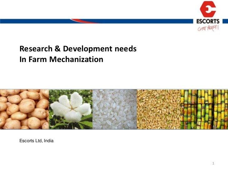 ESCORTS R&D IN FARM MECHANISATION- ICAR CII MEETINGS 23 May 2011