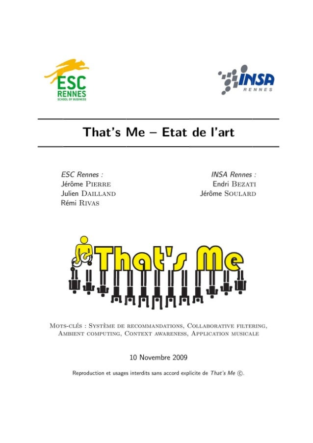 That's Me - Application musicale intelligente - Etat de l'art - Esc rennes