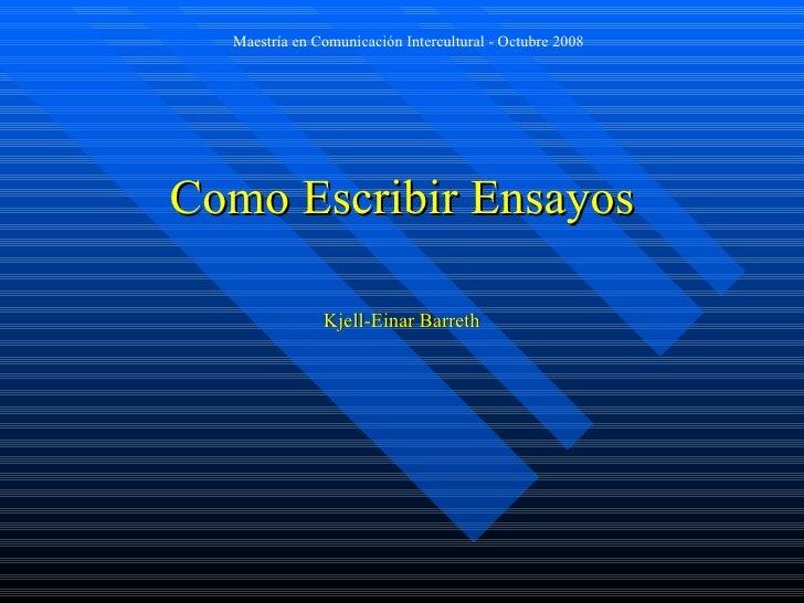 Como Escribir Ensayos Kjell-Einar Barreth