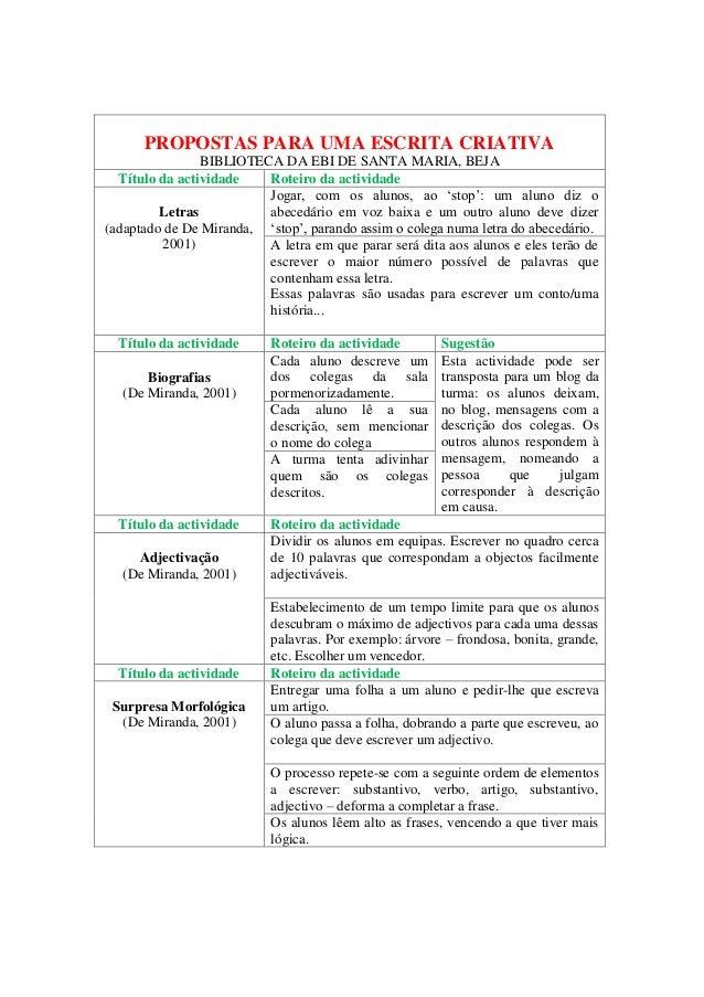 PROPOSTAS PARA UMA ESCRITA CRIATIVA                BIBLIOTECA DA EBI DE SANTA MARIA, BEJA  Título da actividade   Roteiro ...