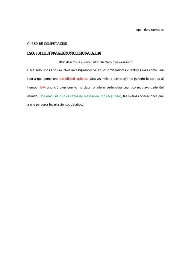 Apellido y nombresCURSO DE COMPUTACIÓNESCUELA DE FORMACIÓN PROFESIONAL Nº 30                      IBM desarrolla el ordena...