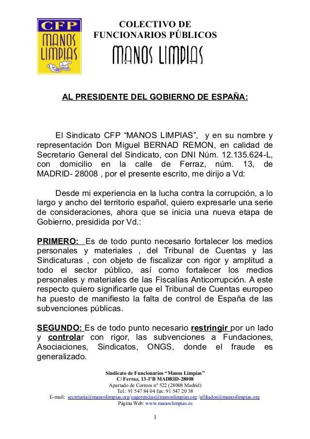 """COLECTIVO DE FUNCIONARIOS PÚBLICOS AL PRESIDENTE DEL GOBIERNO DE ESPAÑA: El Sindicato CFP """"MANOS LIMPIAS"""", y en su nombre ..."""