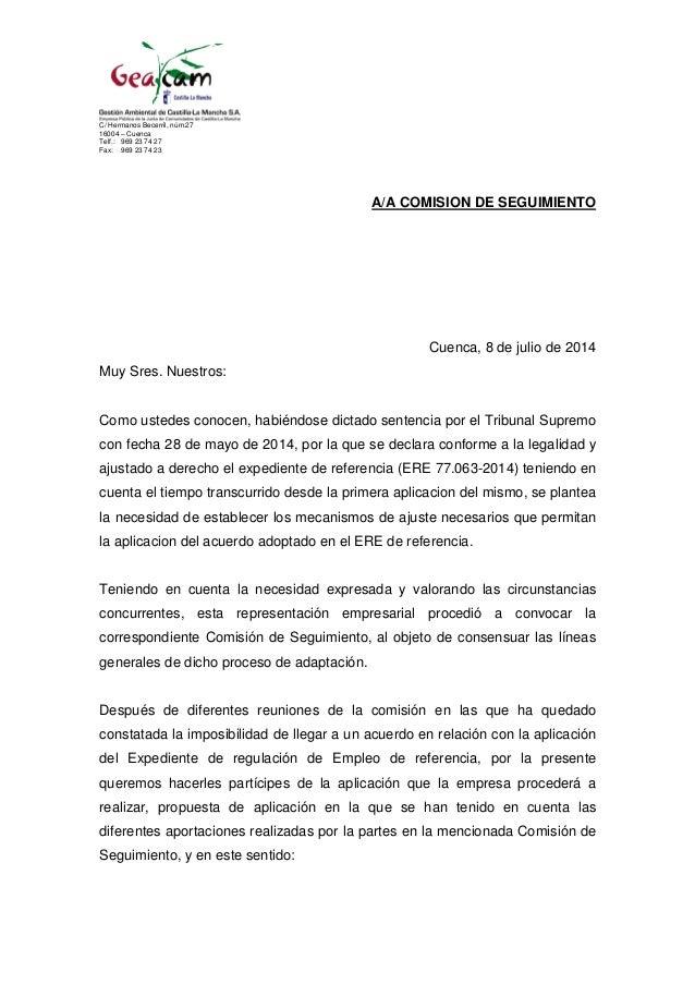 C/ Hermanos Becerril, núm.27 16004 – Cuenca Telf.: 969 23 74 27 Fax: 969 23 74 23 A/A COMISION DE SEGUIMIENTO Cuenca, 8 de...