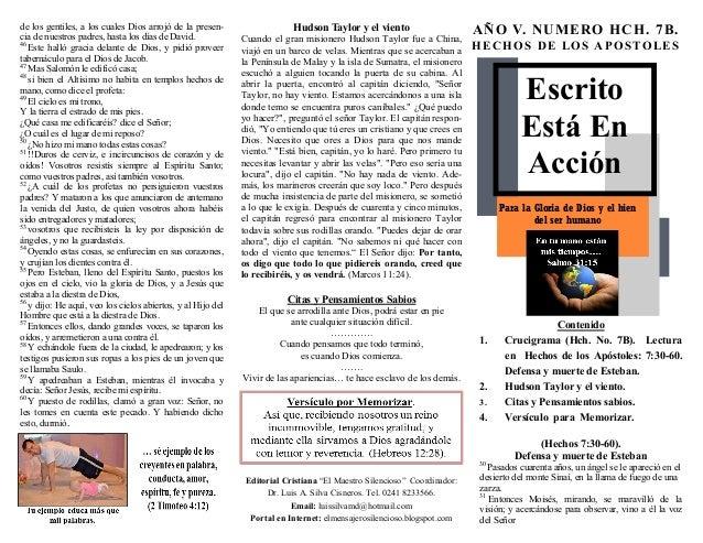 ESCRITO ESTA EN ACCIÓN. LA DEFENSA DE ESTEBAN ANTE EL CONCILIO Y LAS ULTIMAS PALABRAS DE ESTEBAN Y SU LAPIDACION.. HECHOS 7:30-60. (HCH. No. 7B). CRUCIGRAMA CON RESPUESTA