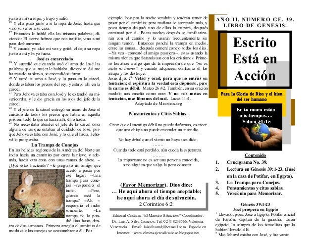 ESCRITO ESTA EN ACCION. JOSE EN LA CASA DE POTIFAR EN EGIPTO Y SU TENTACION. GENESIS 39:1-23. (GN. No. 39). CON RESPUESTA DEL CRUCIGRAMA