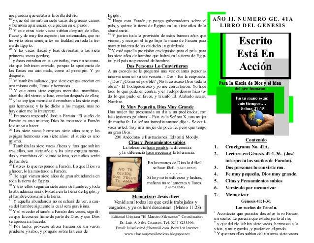 ESCRITO ESTA EN ACCION. JOSE INTERPRETA LOS SUEÑOS DE FARAON. GENESIS 41:1-36. (GN. No. 41A). CON RESPUESTA DEL CRUCIGRAMA