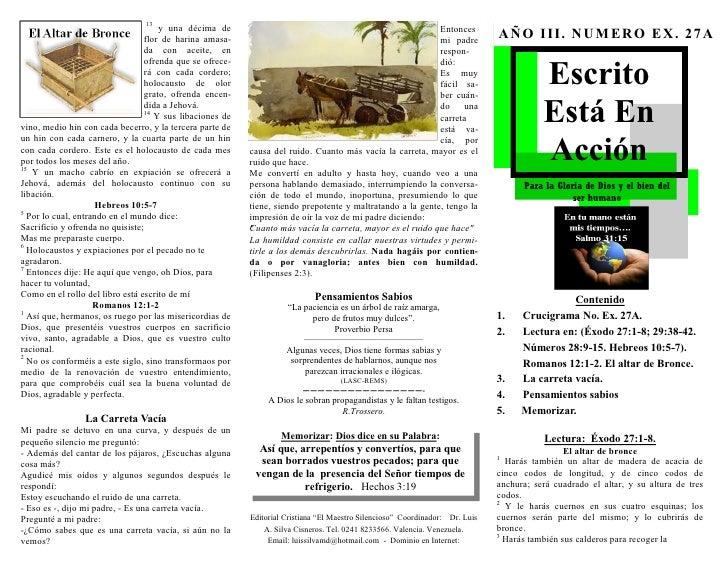 ESCRITO ESTA EN ACCION. EXODO 27:1-8. (EX. No. 27A). EL ALTAR DEL SACRIFICIO EN EL TABERNÁCULO