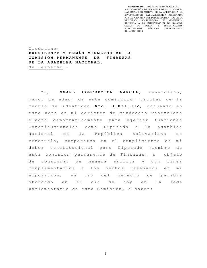 INFORME DEL DIPUTADO ISMAEL GARCIA                                                         A LA COMISIÓN DE FINANZAS DE LA...