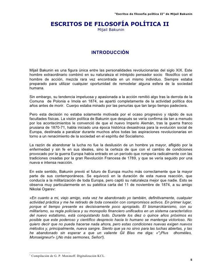 Escritos De FilosofíA PolíTica Ii   Mijail Bakunin