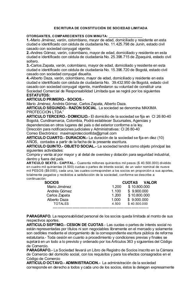 ESCRITURA DE CONSTITUCIÓN DE SOCIEDAD LIMITADAOTORGANTES, COMPARECIENTES CON MINUTA: __________________1.-Mario Jiménez, v...