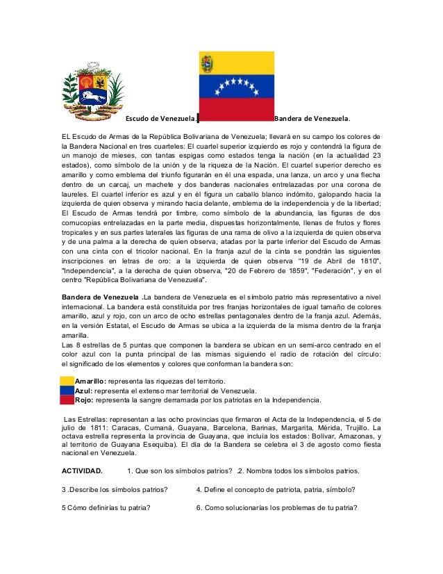 Escudo de Venezuela.                           Bandera de Venezuela.EL Escudo de Armas de la República Bolivariana de Vene...